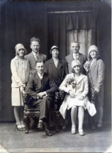 Julia (center) at her daughter's wedding in 1929.