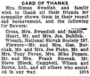 Card of Thanks for Simon Swedish funeral flowers