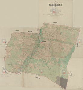 Map of the village of Rozdziele in Galicia in the Jasiel region (1850)