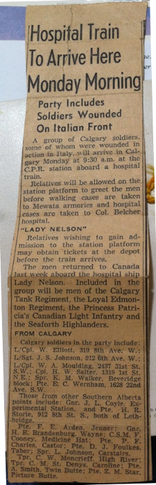 This clipping, showing Bill's return aboard the HMCS Lady Nelson hospital ship, was found carefully folded amongst Esther's papers.