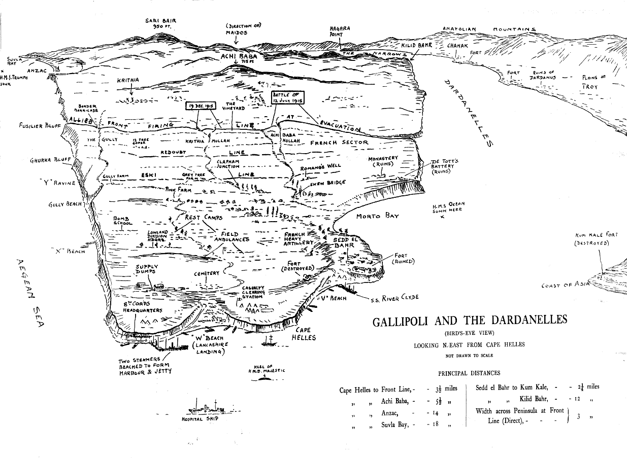 This map of the Gallipoli Peninsula, showing the front line on July 12, is from <a target='_blank' href='http://www.gutenberg.org/ebooks/20250'>The Fifth Battalion Highland Light Infantry 1914-1918</a> by F.L. Morrison