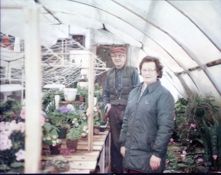 John and Kathleen in the greenhouse