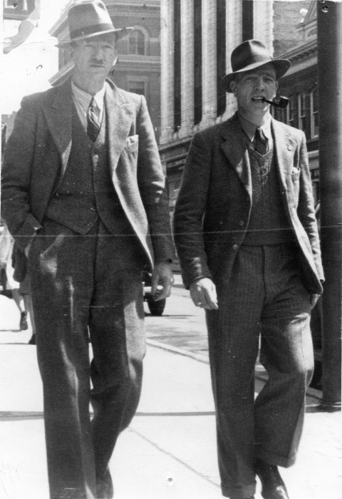 William (L) with his eldest son John in Calgary, possibly 1947.