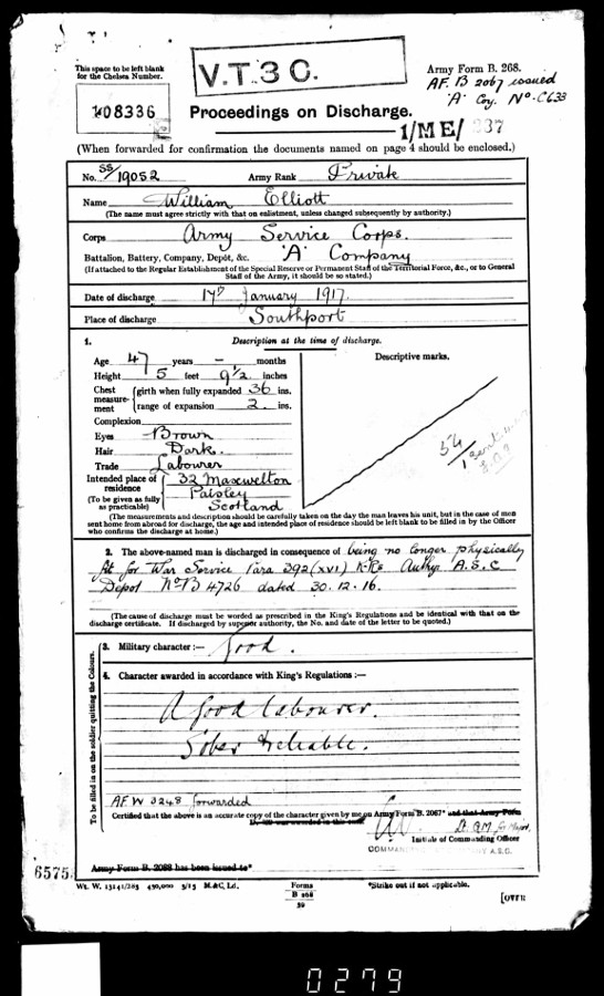William's discharge papers